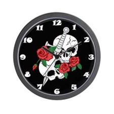 Skull, Roses and Dagger Wall Clock