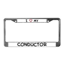 I Love Conductor License Plate Frame