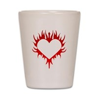 Flaming Heart Shot Glass