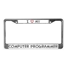 I Love Computer Programmer License Plate Frame