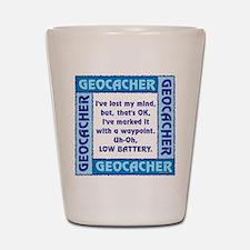 Blue Geocacher Lost Mind Shot Glass