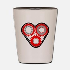 Red Mechanical Heart Shot Glass