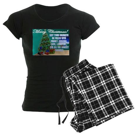 Hockey Christmas Cards & Gift Women's Dark Paj