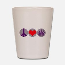 Peace Love Purple Leaf Shot Glass