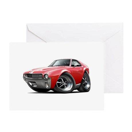 1968-69 AMX Red-White Car Greeting Card