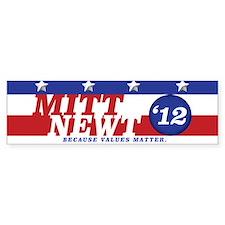 Mitt/Newt 2012 Bumper Car Sticker