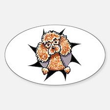 Apricot Poodle Burst Sticker (Oval)