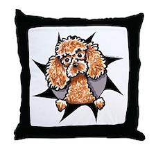 Apricot Poodle Burst Throw Pillow