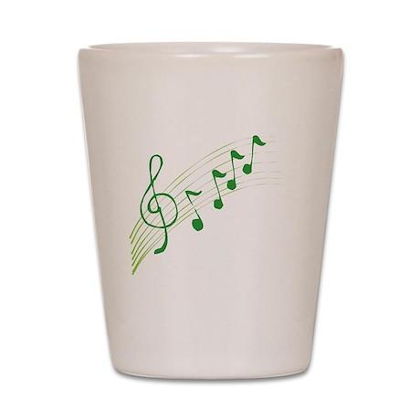 Green Music Notes Shot Glass