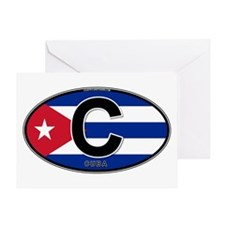 Cuba Intl Oval (colors) Greeting Card