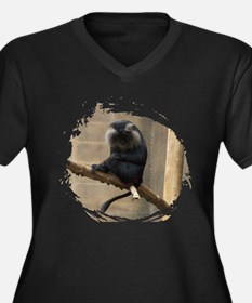 Lion-tailed macaque Women's Plus Size V-Neck Dark