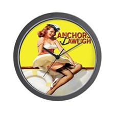 Anchors Aweigh Navy Pinup Girl Wall Clock