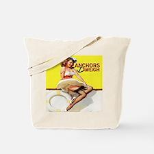 Anchors Aweigh Navy Pinup Girl Tote Bag