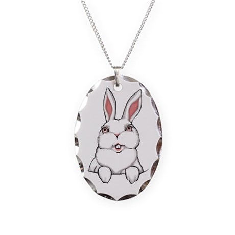 Easter Bunny Necklace Oval Charm