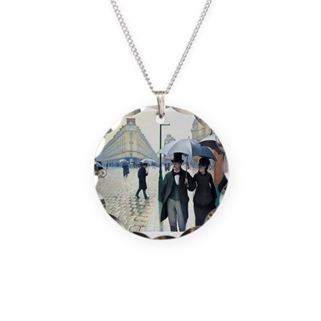 Paris Street, Rainy Day Necklace Circle Charm
