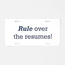 Rule / Resumes Aluminum License Plate