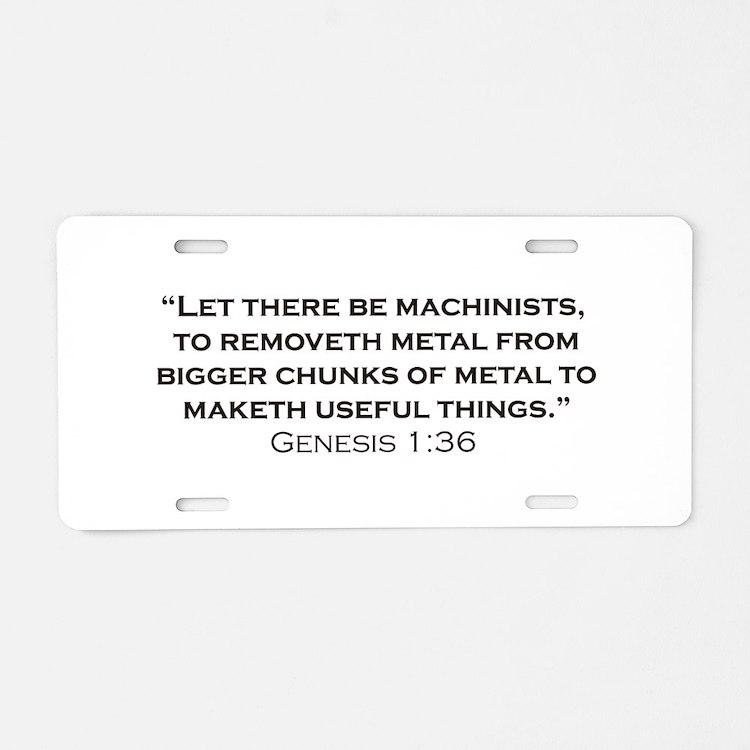 Machinist / Genesis Aluminum License Plate