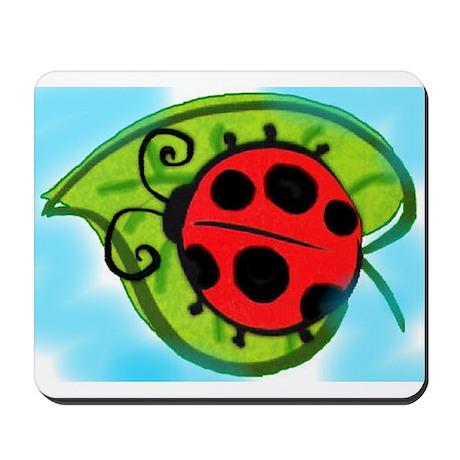 Ladybug on a leaf Mousepad