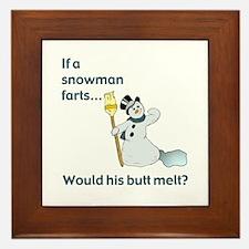 Snowman Fart Framed Tile