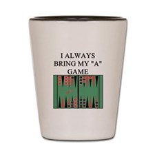 i love backgammon player Shot Glass