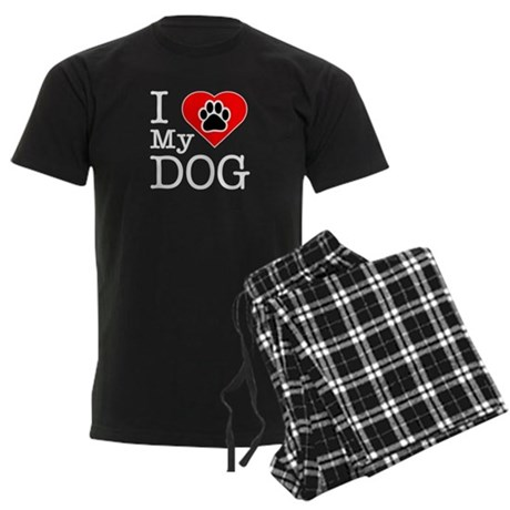 I Love My Dog Men's Dark Pajamas