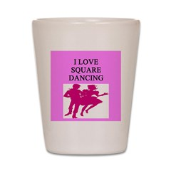 line or square dance Shot Glass