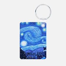 Starry Night Border Collies Keychains