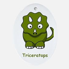 Cartoon Triceratops Ornament (Oval)