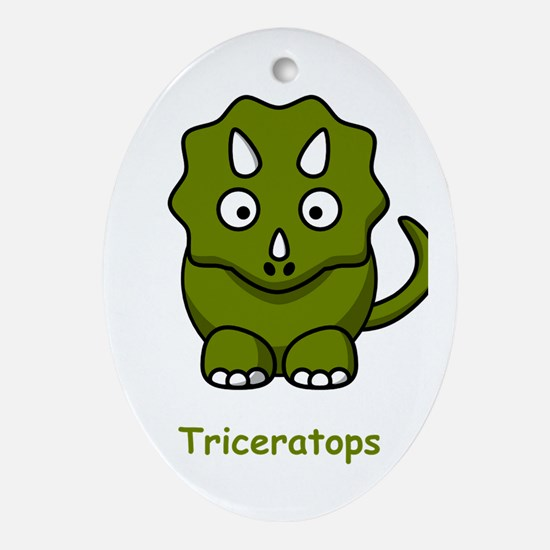 Cartoon Triceratops Ornament (Oval)