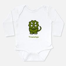 Cartoon Triceratops Long Sleeve Infant Bodysuit