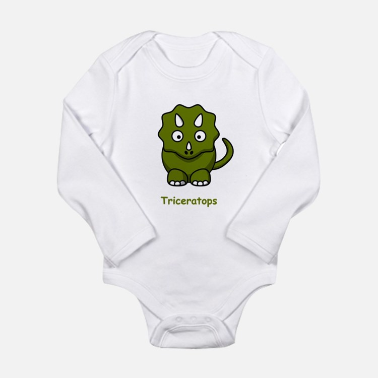 Cartoon Triceratops Long Sleeve Infant Bodysuit