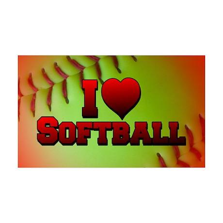 I Love Softball (Optic Yellow) 38.5 x 24.5 Wall Pe