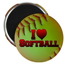 "I Love Softball (Optic Yellow) 2.25"" Magnet (10 pa"