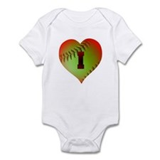 I Love Softball (Optic Yellow) Infant Bodysuit