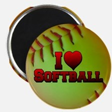 I Love Softball (Optic Yellow) Magnet