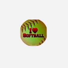 I Love Softball (Optic Yellow) Mini Button (10 pac