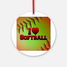 I Love Softball (Optic Yellow) Ornament (Round)