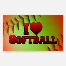 I Love Softball (Optic Yellow) Decal