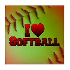I Love Softball (Optic Yellow) Tile Coaster