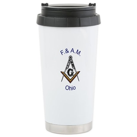Ohio Square and Compass Stainless Steel Travel Mug