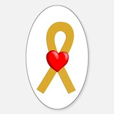 Gold Ribbon Heart Oval Decal