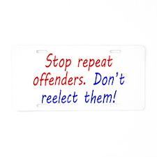 Stop Repeat Offenders Aluminum License Plate