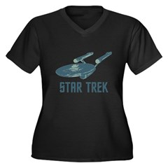 Retro Enterprise Women's Plus Size V-Neck Dark T-S
