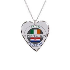 Irish Croatian flags Necklace Heart Charm