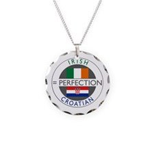 Irish Croatian flags Necklace Circle Charm