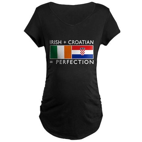 Irish Croatian flags Maternity Dark T-Shirt