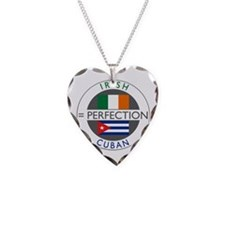 Irish Cuban heritage flags Necklace Heart Charm