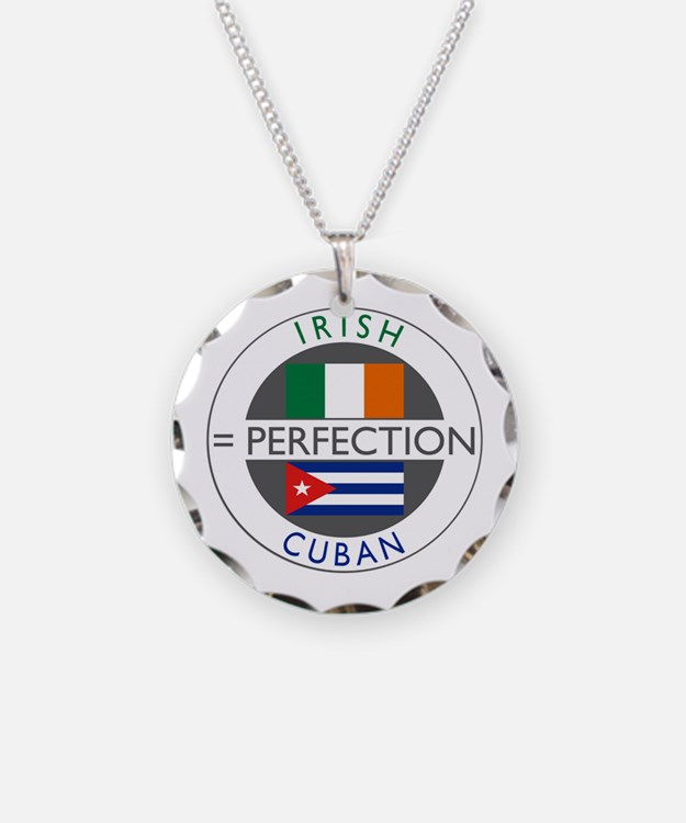 Irish Cuban heritage flags Necklace Circle Charm
