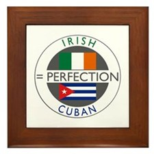 Irish Cuban heritage flags Framed Tile