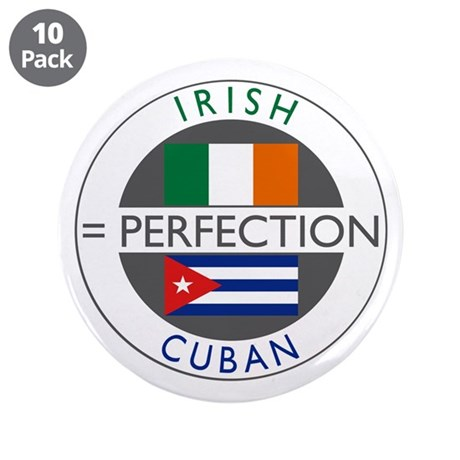 "Irish Cuban heritage flags 3.5"" Button (10 pack)"